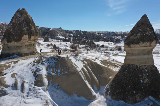 Views of snow covered Cappadocia