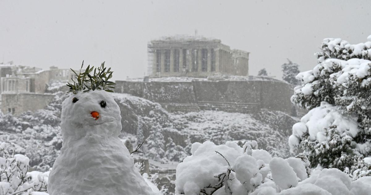 Rare snowfall blankets the Mediterranean