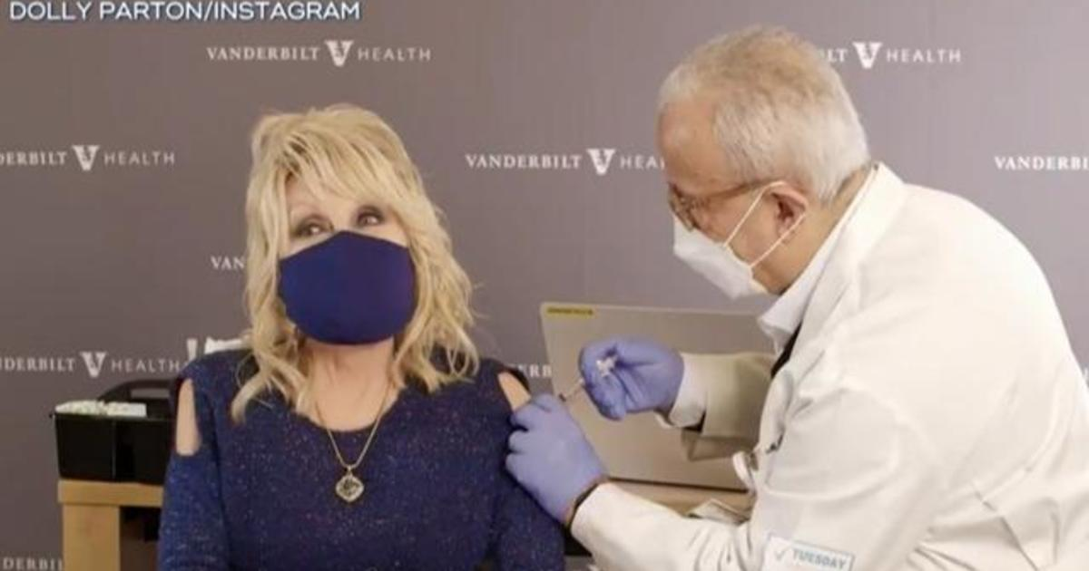 Dolly Parton receives shot of COVID vaccine she helped fund