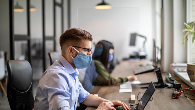 employees workers pandemic coronavirus face masks