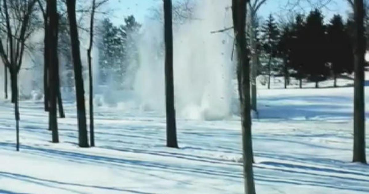 Watch: Dynamite clears ice dam in Wis. creek