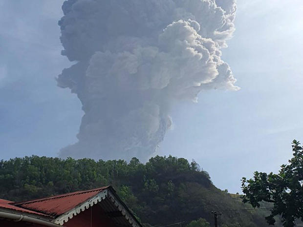 An ash column rises from La Soufriere volcano as seen from Bagga, St. Vincent and the Grenadines, April 9, 2021.