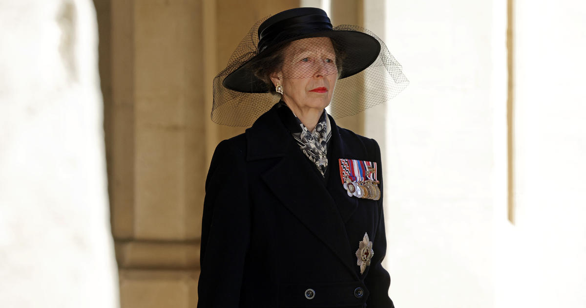 Princess Anne walks behind casket as the only woman in Philip's funeral procession