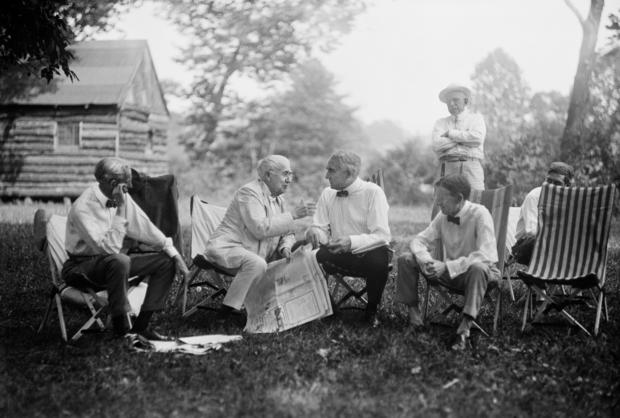 Henry Ford, Thomas Edison, U.S. President Warren Harding and Harvey Firestone, Portrait while Sitting at Campsite, Maryland, USA, Harris & Ewing, 1921