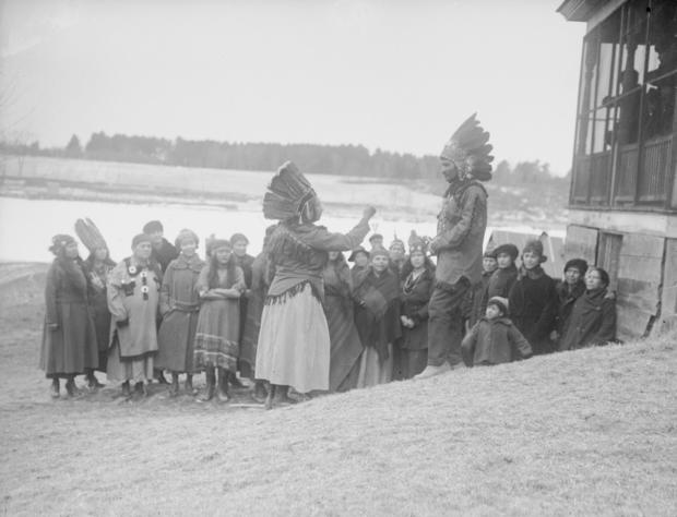Penobscot Chief Conversing with His Wife and Women
