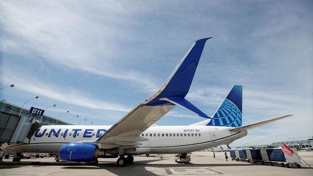 FILE PHOTO: FILE PHOTO: United Airlines first new livery Boeing 737-800 sits at a gate O'Hare International Airport in Chicago