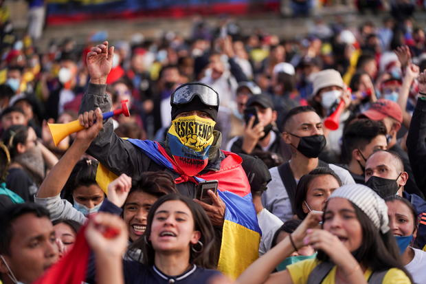 Colombians take to the streets to kick off third week of anti-government protests, in Bogota