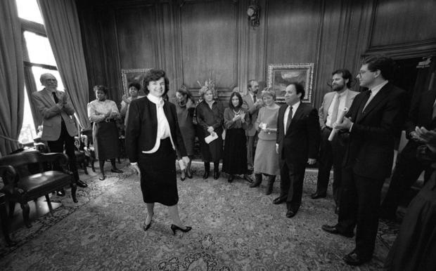 Mayor Dianne Feinstein's last day in office, January 8, 1988