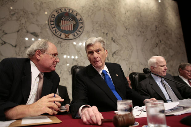 Senate Armed Services Committee members, from left, Sen. Car