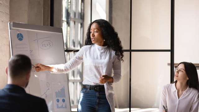 woman giving a presentation at work