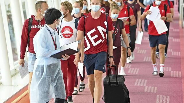 Members of the Danish Olympic rowing team arrive at Tokyo's Haneda airport ahead of the Tokyo Olympics