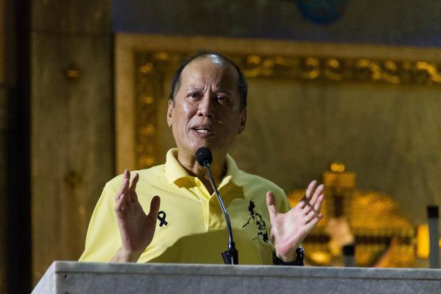 Former president Benigno Aquino III seen speaking to his