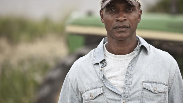 Serious African American farmer