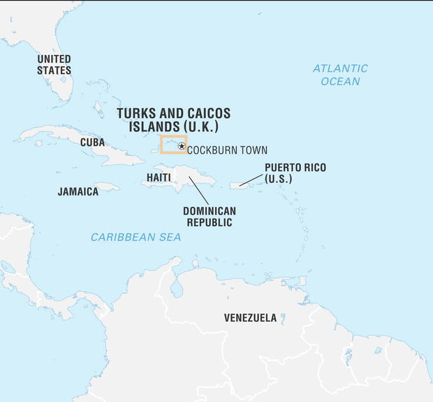 Locator map of Turks and Caicos Islands