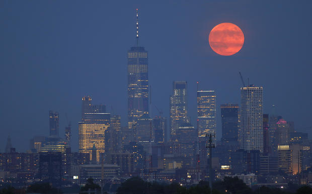 The Full Moon Rises in New York City on the 50th Anniversary of the Launch of Apollo 11