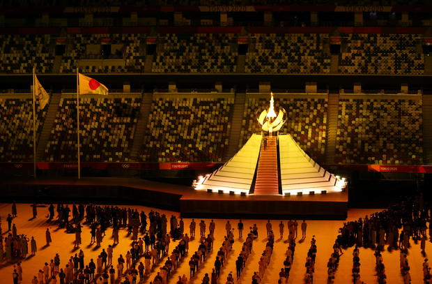 Tokyo 2020 Olympic cauldron is lit during opening ceremony