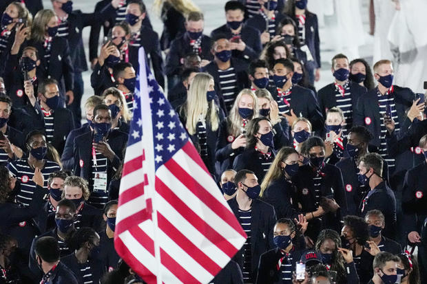 Athletes from the United States of America walk during the opening ceremony in the Olympic Stadium