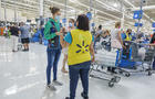 Florida, Miami, Walmart discount department store, check out lines