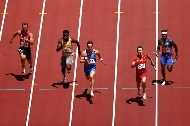 Men's 4x100m Relay heats on day thirteen of the Tokyo 2020 Olympic Games