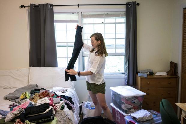 Hanover, NH - June 19:Caroline Casey gets unpacks in her new o