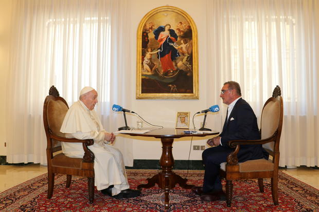 Pope Francis speaks during an interview with Spanish radio station COPE at the Vatican City