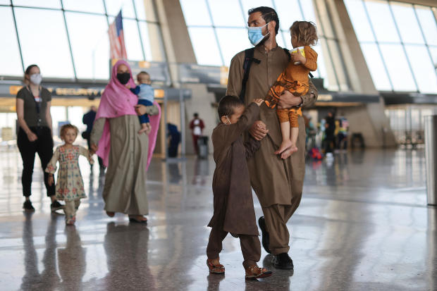 Afghan Refugees Arrive At Dulles Airport Outside Nation's Capital