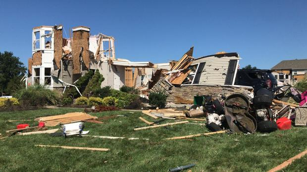 Building destroyed by tornado in Mullica Hill, New Jersey