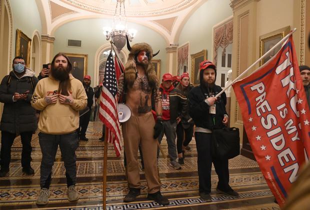 """QAnon Shaman"" Jacob Chansley in the U.S. Capitol on January 6, 2021"