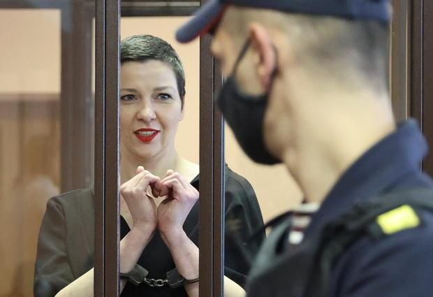 Belarusian opposition politician Maria Kolesnikova attends a court hearing in Minsk