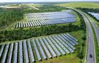 Solar farm view from above