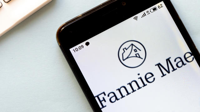 In this photo illustration a Fannie Mae logo seen displayed