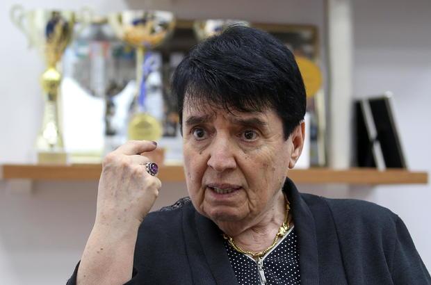 Nona Gaprindashvili, a Soviet-era chess grandmaster from Georgia, speaks during an interview in Tbilisi
