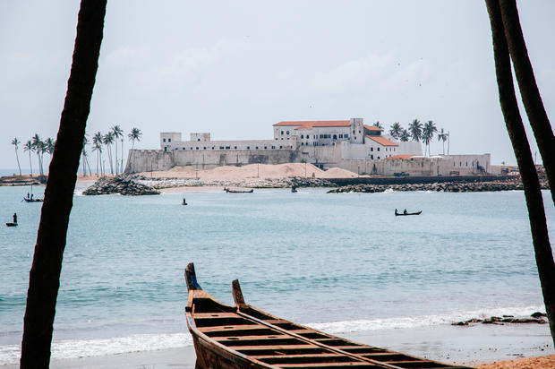 Elmina castle view from the beach