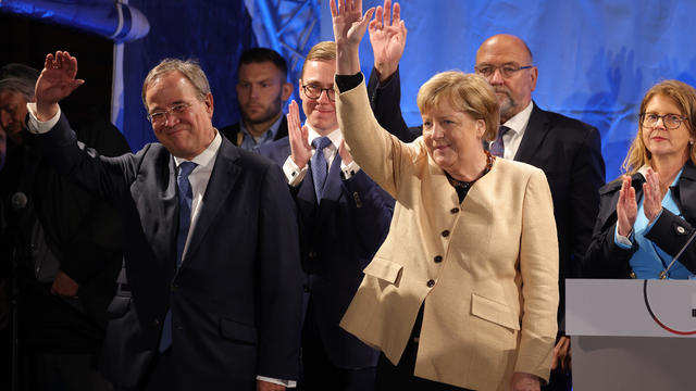 Merkel And Laschet Campaign In Stralsund As Elections Near