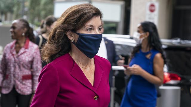 Governor Hochul leaves meeting with The Duke and Duchess of