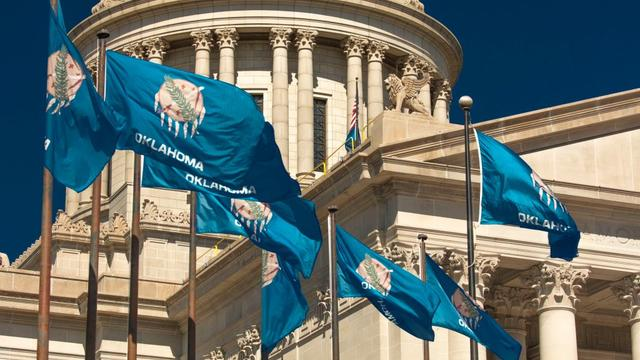 State Flag flies over Oklahoma State Capitol, Oklahoma City OK